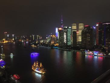 The Huangpu River at night.